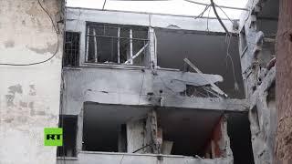 Momento del ataque palestino contra un edificio de apartamentos