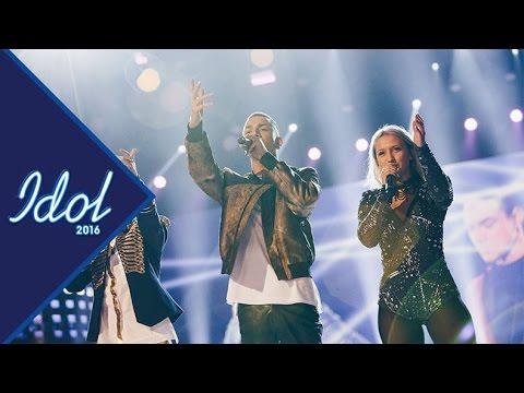 Finaltrion uppträder tillsammans under finalen av Idol 2016 - Idol Sverige (TV4)