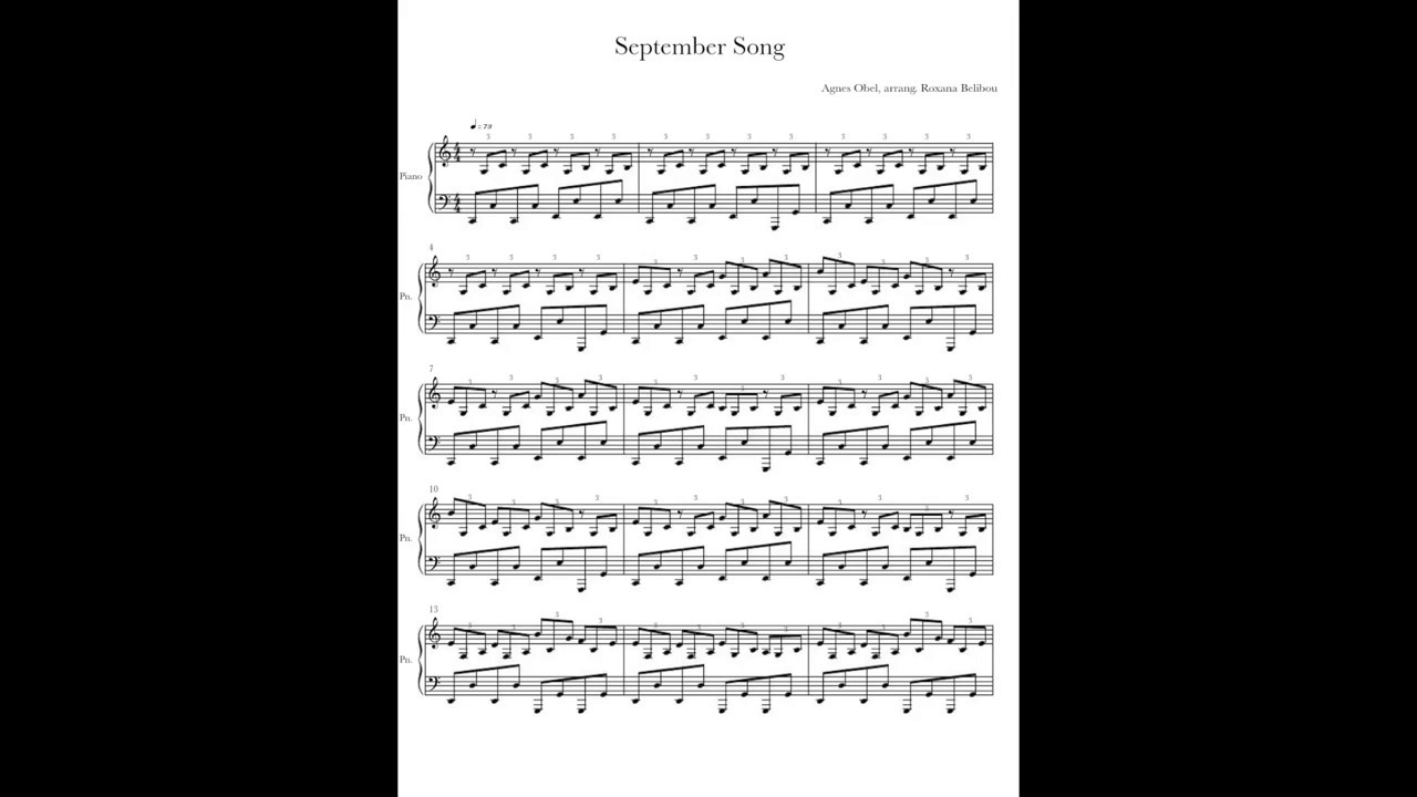 September Song Sheet Music-Piano arrang  by Roxana Belibou