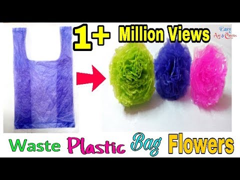 Plastic Cover Flower Making Designs - Waste Plastic Bags Flower - DIY Best Out Of Waste