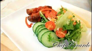 Summer Salad Served With Pork Sausages Easy To Make