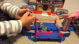 Playing with Monster Mania Rampage Arena! Mix n Match Collectible wrestlers