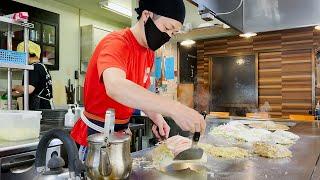 【広島・お好み焼きMASARU】若い店主さんがリズミカルに焼くお好み焼き!八昌からロペズそしてMASARUに継承された味とは!?ランチタイムの焼きシーン!