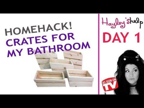 Hayley's Help  - Daily Vlog Hanging My DIY Bathroom Crates for my Bathroom