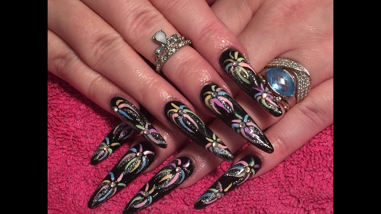 fireworks - Sculpted Acrylic Nails how-to using Crystal Nails liquid and powder - YouTube