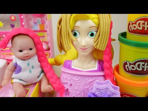 Baby doll hair shop toys and Play-Doh princess hair play