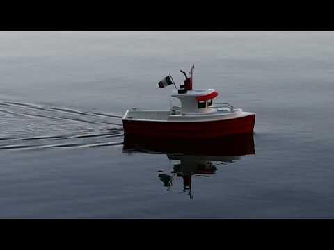 Scale model radio control harbor work boat based on Dumas Osprey