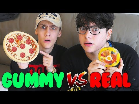 GUMMY FOOD VS REAL FOOD CHALLENGE! Part 2