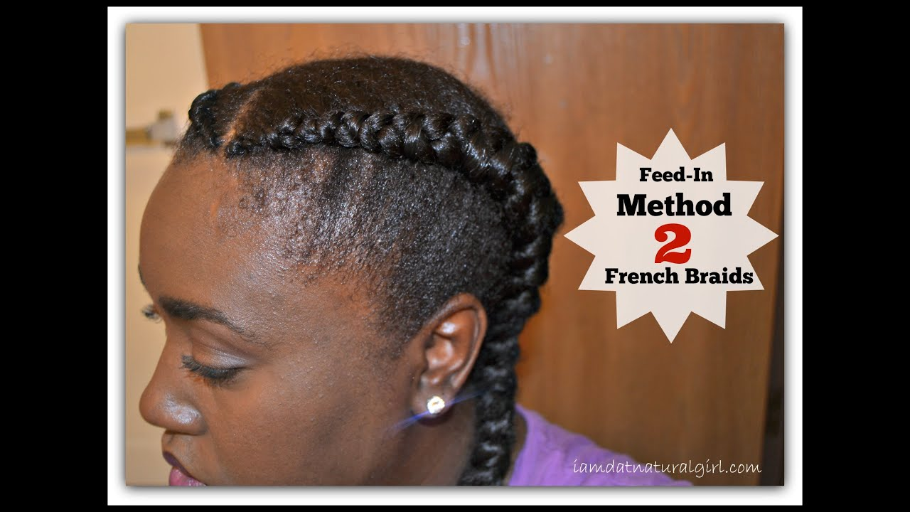 Hair Styles Feed In Braids: Two French Braids - YouTube