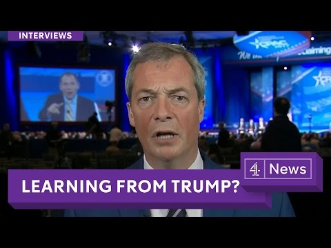 Nigel Farage interview on Trump, Brexit and by-elections with Channel 4 News in America