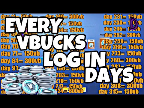 WHAT DAYS DO YOU RECEIVE VBUCKS FOR LOGIN IN ON FORTNITE SAVE THE WORLD ?  HOW MUCH? 