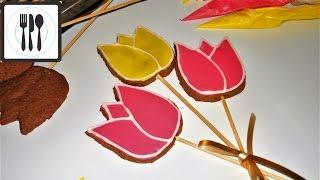 Глазурь для печенья, пряников. Тюльпаны на 8 марта. Айсинг. Как сделать глазурь рецепт.