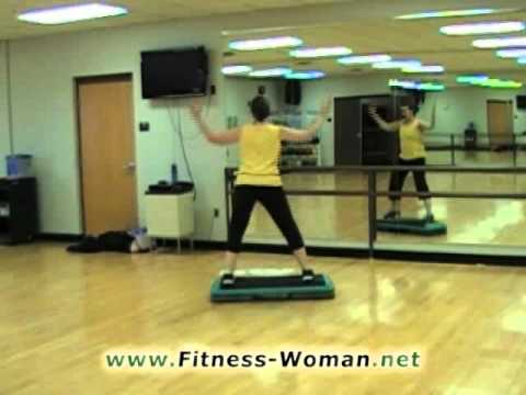 Fitness Woman Step Aerobics Routine with Chopstick cha-cha and grapevine
