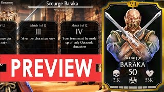 SCOURGE BARAKA Challenge Requirements and BOSS BATTLE Preview. Mortal Kombat X Mobile.