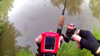 Эхолот беспроводной из Китая эксперимент с пойманной рыбой.