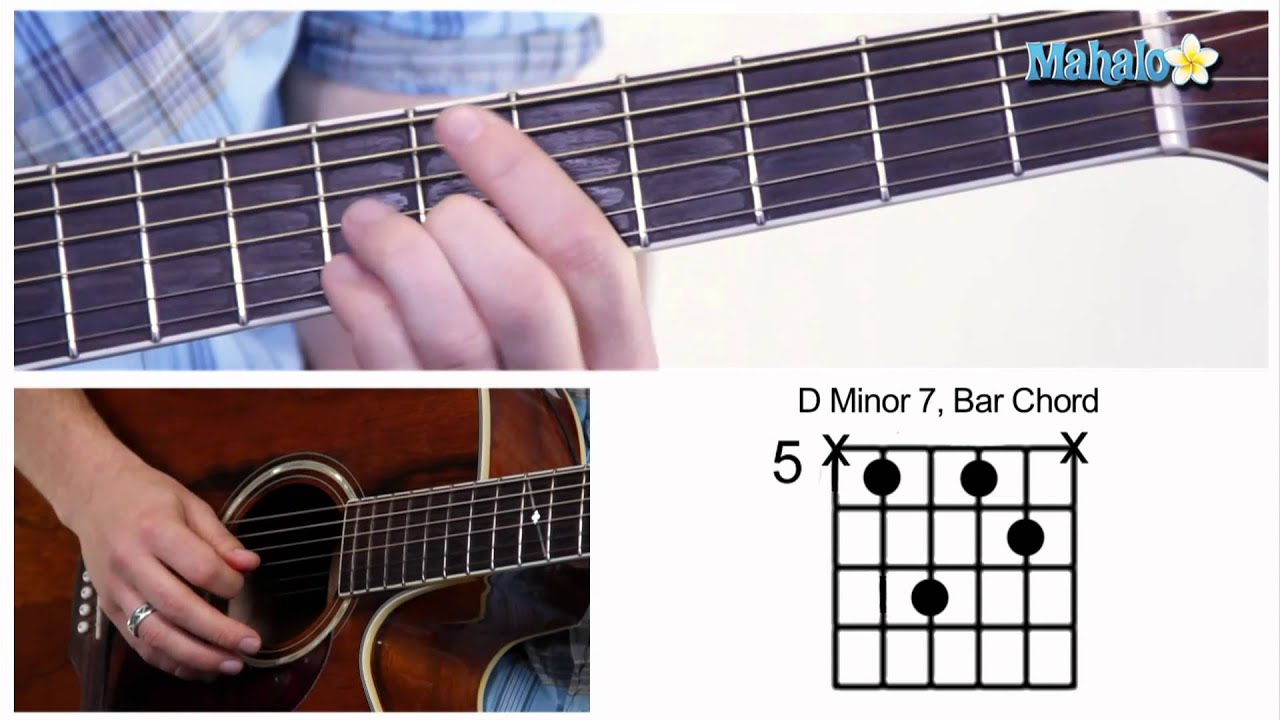 How To Play A D Minor 7 Dm7 Bar Chord On Guitar 5th Fret Youtube