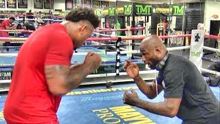 UFC rising star Greg Hardy getting a lesson from King Mo inside the Mayweather Boxing Club