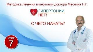 Урок 7. С чего начать? Гипертонии-НЕТ! Методика лечения гипертонии Месника Н.Г.