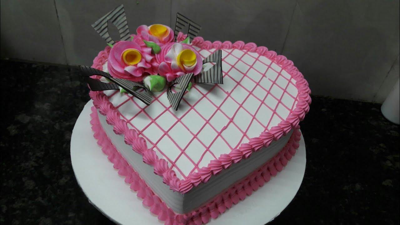 Love Shape Birthday Cake Pineapple Flower Fancy Making By New Wala