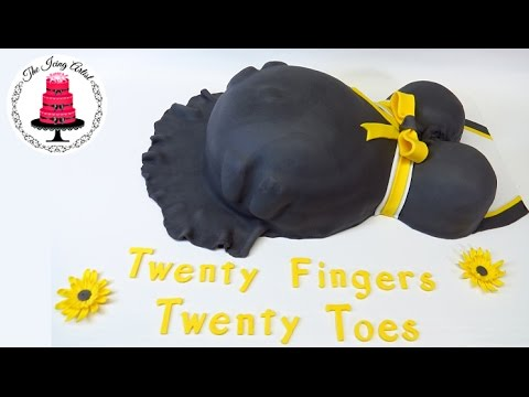 3D Baby Bump Baby Shower Cake For Twins   How To With The Icing Artist    YouTube
