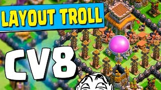Eminem do CLASH?! Narrando Replays no FLUXO! LAYOUT TROLL PARA CV8 (TROFÉUS FACEIS) Clash of Clans