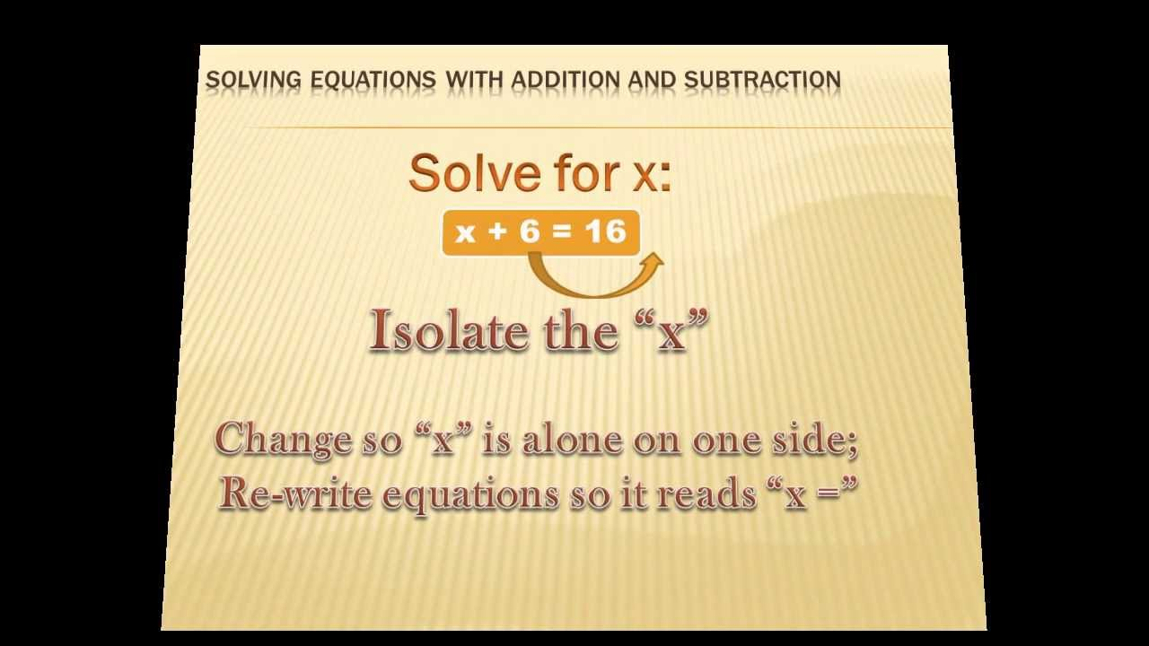 algebra solving equations with addition and subtraction 6th grade math youtube. Black Bedroom Furniture Sets. Home Design Ideas