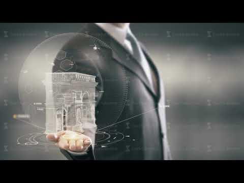 Arc de Triomphe France Businessman Holding in Hand Landmark New technologies