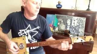 How to Play Honky Tonk Woman on a 3 string Slide cigar box guitar by Nigel McTrustry