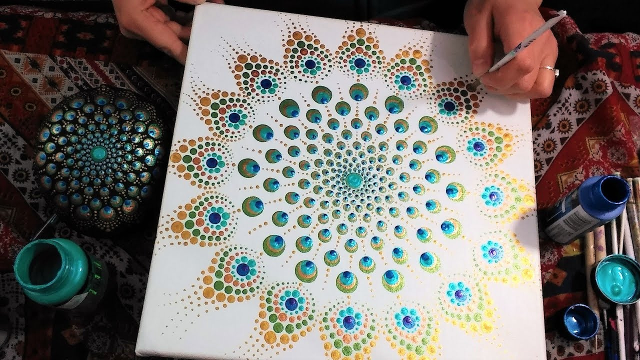 How To Paint Dot Mandalas Peacock Inspired 35 Full Step By Step Tutorial