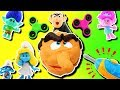 Smurfs & Trolls Fidget Spinner Game Play-Doh Drill N Fill Gargamel! Smurfette, Poppy, Branch & Slime