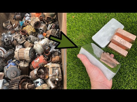 Motor Melt Down - Scrap Yard Salvage -Trash To Treasure -ASMR Melting Metal-Copper Aluminium Ingots