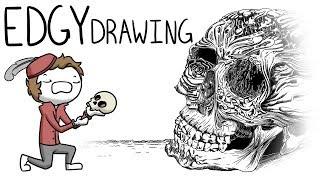 Boy Draws Skull, Is Edgy [Time Lapse]
