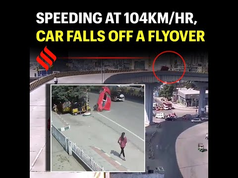 Speeding at 104km/hr, car falls off a flyover in Hyderabad