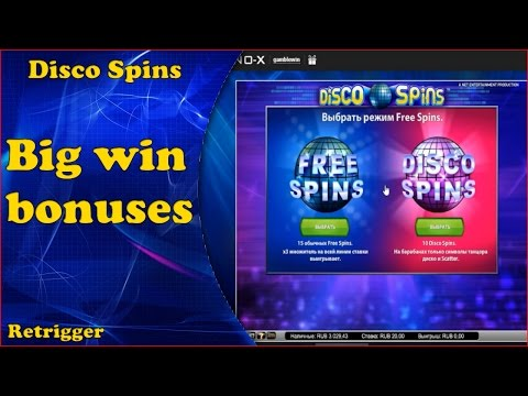 Big win bonuses online slot Disco Spins in casino.