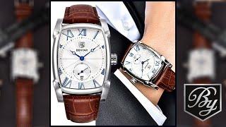 Benyar : Montre de luxe pour homme - bracelet en Cuir Marron