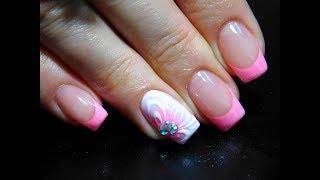 Розовый френч с цветочком ТОП Красивый и простой летний дизайн ногтей
