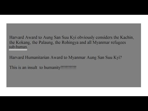 nc-Clip 165 Harvard Award to Suu Kyi: An Insult to Humanity by Shwe Lu Maung