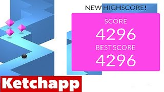 ZIGZAG by Ketchapp | High Score 4000+ (4296) (iPhone Gameplay Video)