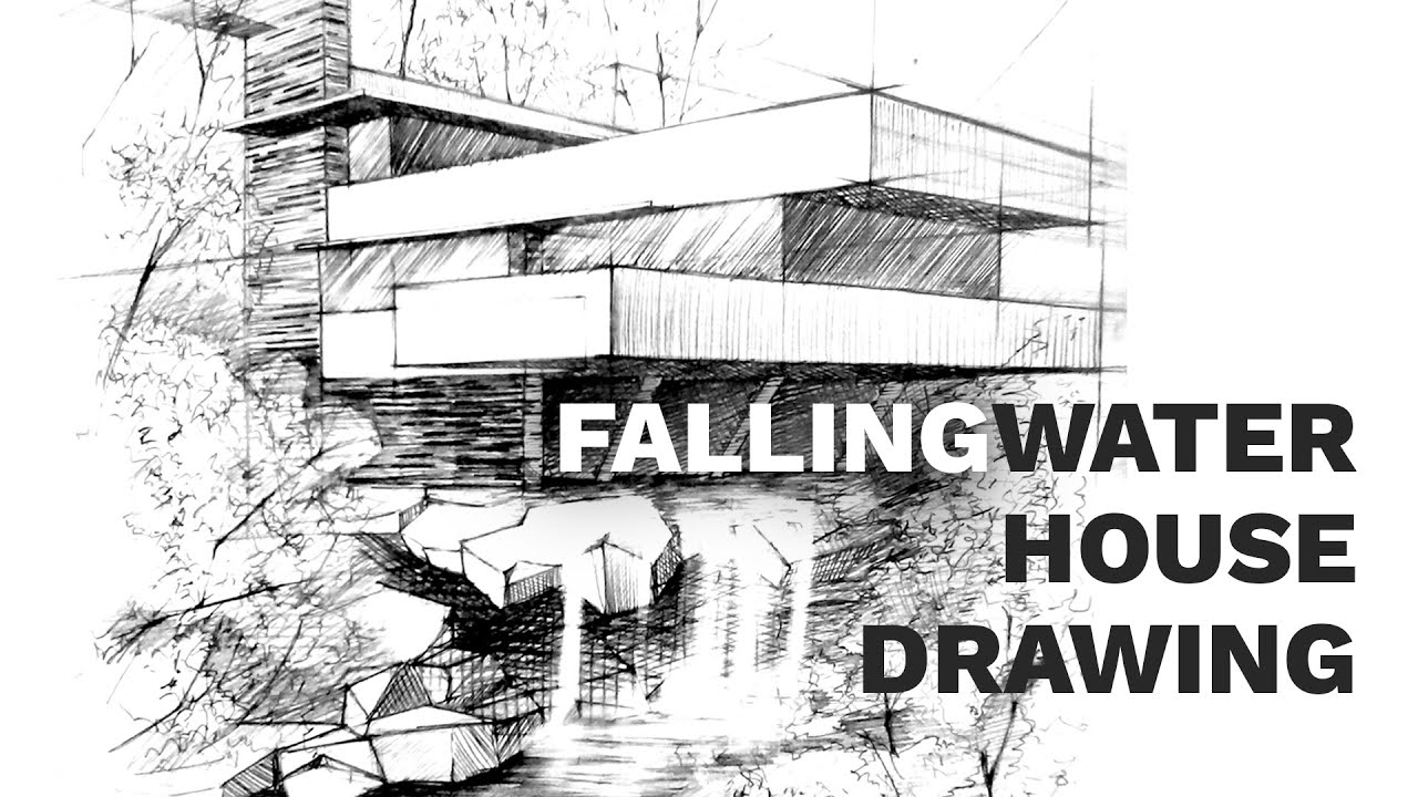 Fallingwater house perspective drawing #2 | famous architecture