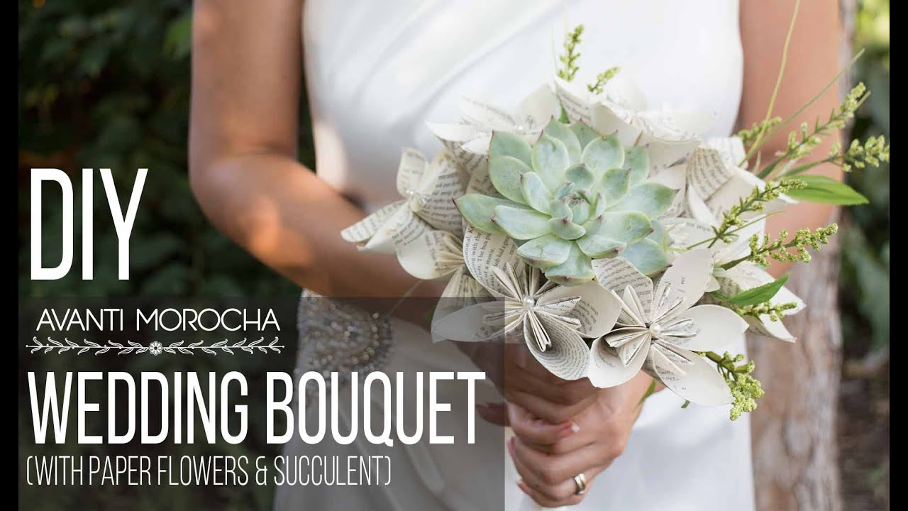 Diy wedding bouquet with paper flower succulent bouquet de diy wedding bouquet with paper flower succulent bouquet de bodas youtube dhlflorist Choice Image