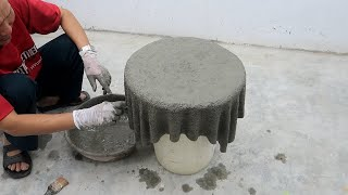 How To Make a Coffee Table With Old Towels and cement - Garden Decoration