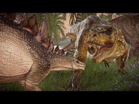 🌍 Jurassic World Evolution - Tyrannosaurus Rex & Acrocanthosaurus Hunting in Desert Environment!  