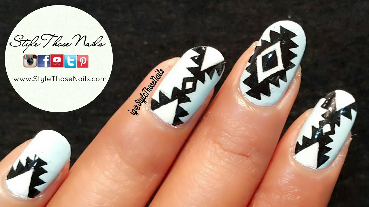How to do Aztec/Tribal Nailart- 2 Easy designs: DIY Nail Art - YouTube