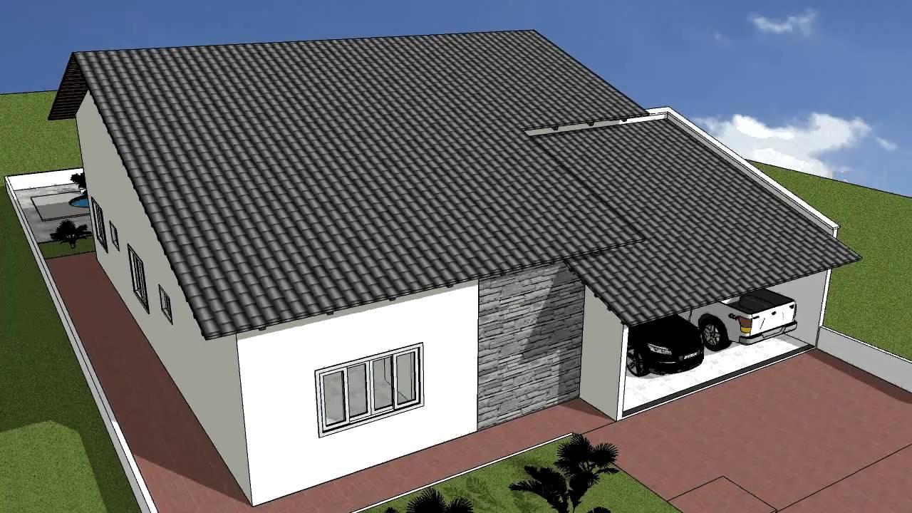 Desenho projeto sketchup casa 04 youtube for Casa 3d online
