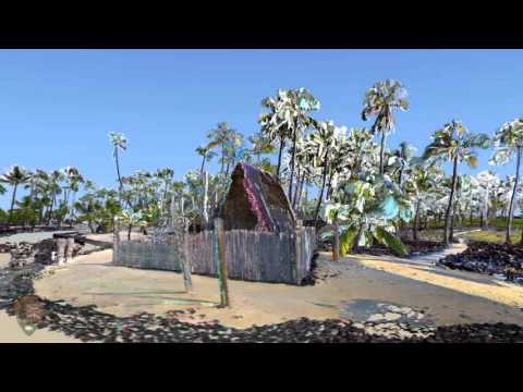 Fly-through of Pu'uhonua o Honaunau NHP, Honaunau, HI