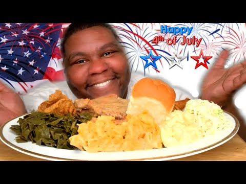 66. 🇺🇸4TH OF JULY SOUL FOOD FEAST W/ SMOTHERED PORK CHOPS/FRIED FISH🇺🇸