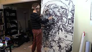 LARGE Blindfolded Drawing (4'x7') (You'll never guess how big it is!)