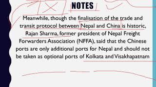 Study IQ education! Nepal China Transit Transport Agreement   IMPACT ON INDIA   Current Affairs 2018