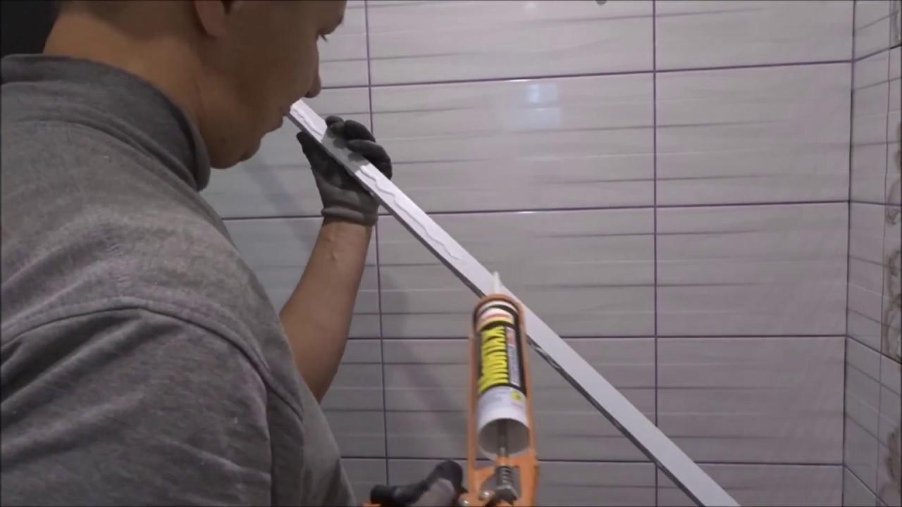 Отделка потолка в ванной комнате пвх панелями - YouTube