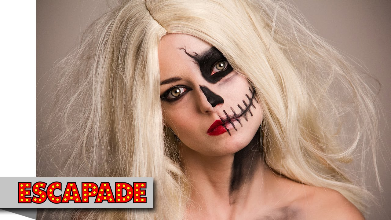 Half Skull Face Halloween Makeup Tutorial Halloween Makeup Ideas - Halloween-face-makeup